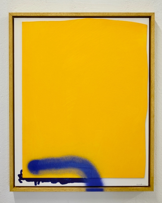 sold trying to feel more yellow than blue 2017 acrylic cardboard and spray paint on wood panel in a hand varnished wooden floater frame 43 x 53 cm - Yellow Frame
